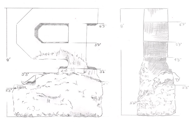 Artist sketches of the Unfinished Block P - Back and Right Side